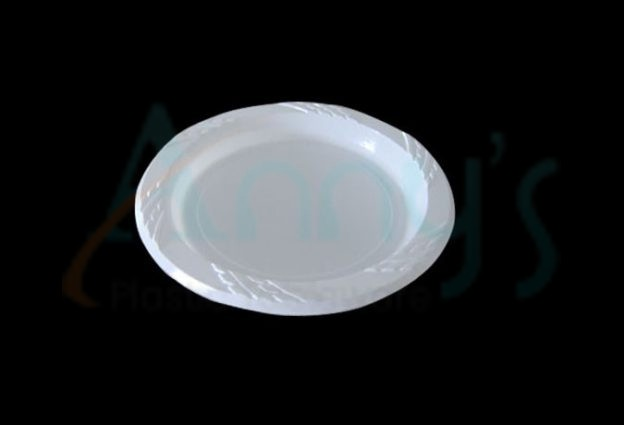 "6"" white disposable plastic plate, round, PS material"