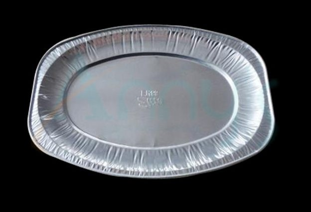 "15"" oval disposable aluminum foil serving platter, foil buffet platter"