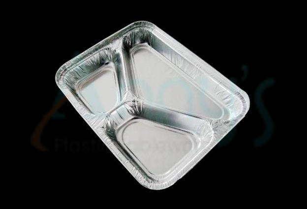 disposable 3 compartment aluminum foil T.V. dinner tray, aluminum food take-out dinner dish with compartments