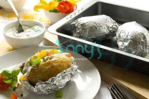 potatoes wrapped in aluminum foil, Anny's Plastic Tableware