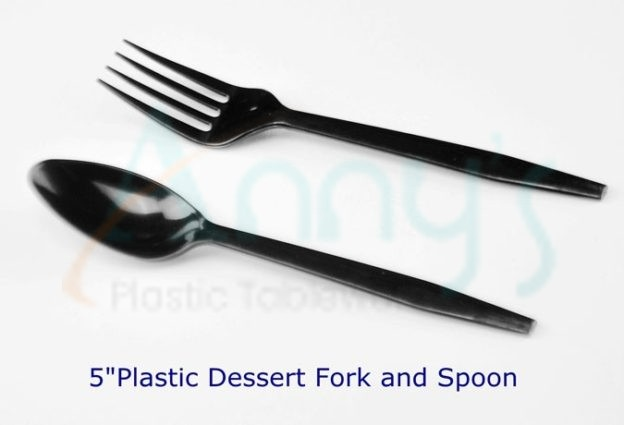 "5"" black disposable plastic dessert spoon, 12.5cm disposable plastic fork"