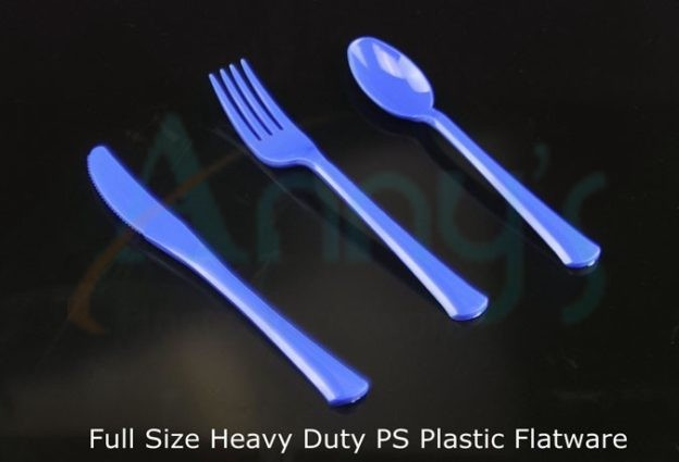 blue disposable extra heavy duty full size plastic spoon, fork, knife, flatware set.