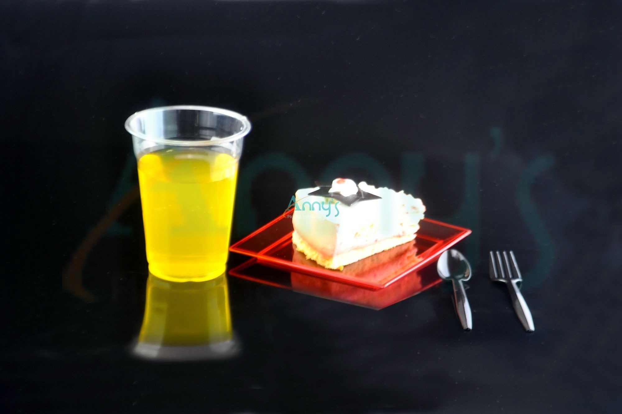 PET plastic juice cup, dessert tray and cutlery
