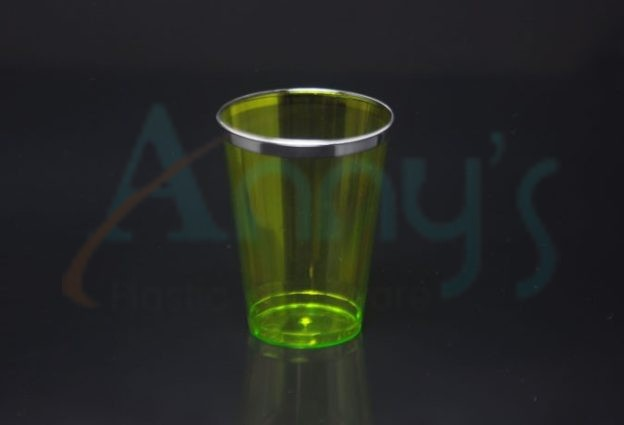 7oz green disposable plastic tumbler with silver trim